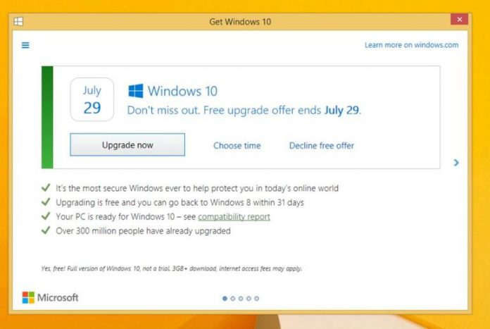 Free Upgrade of Windows 10 left less than a month