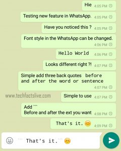 WhatsApp new Font example