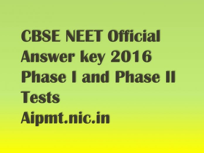 NEET Official Answer key 2016