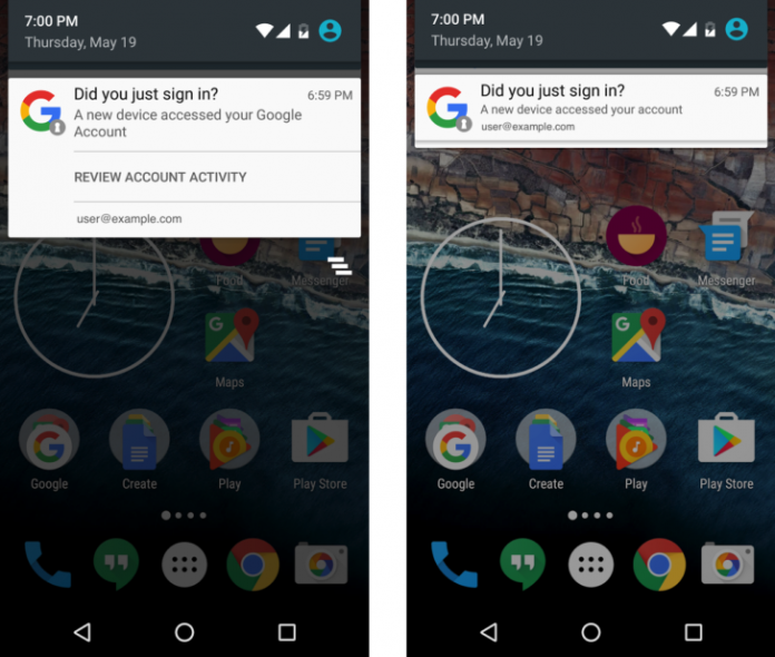 Google Pushes notifications on Android, when new devices are added to your account