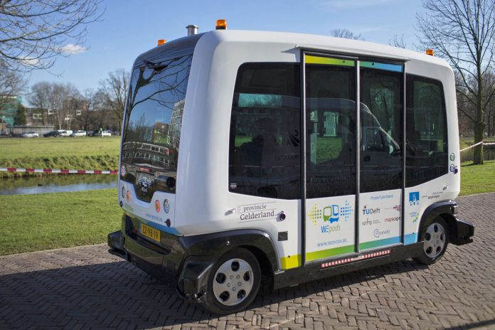 Busy streets of Helsinki in Finland takes Autonomous buses