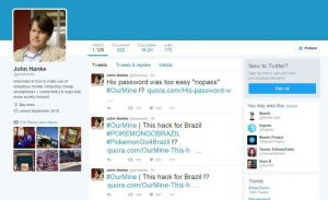 John Hanke's Twitter Account hacked by OurMine