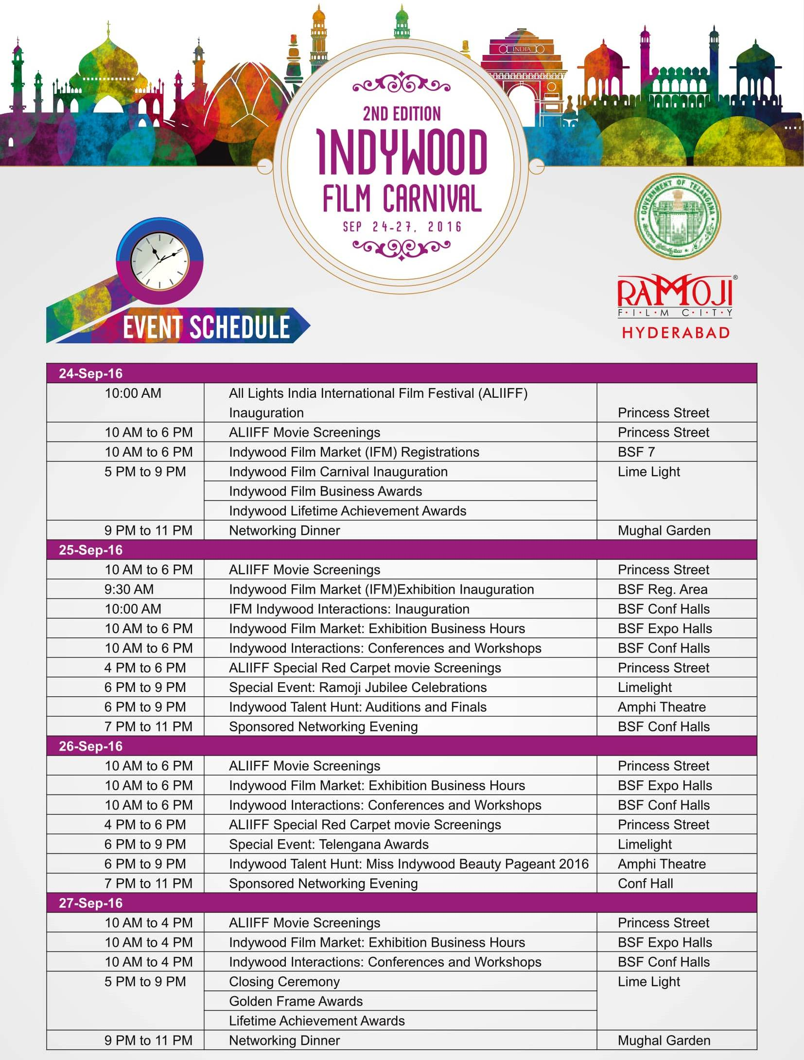 Indywood Film Carnival Event Schedule