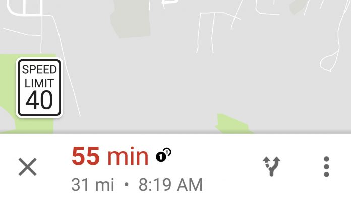 Speed Limits Feature on Google Maps Navigation