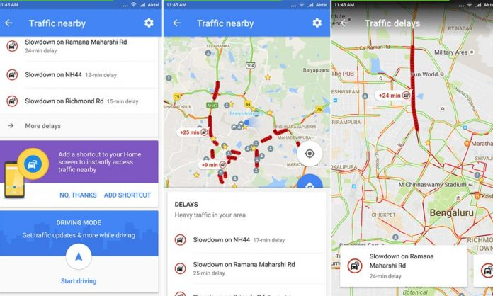 Google Maps adds on one-tap shortcut to view traffic around you