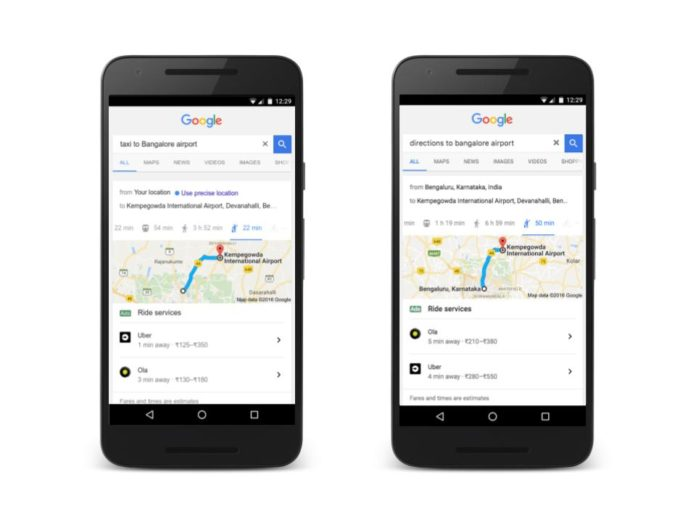 Google Search can now Make the Bookings for Ola and Uber