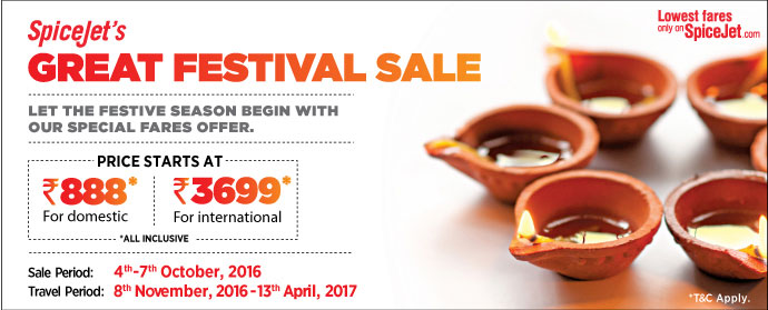 Spicejet Announced GreatFEstival Sale