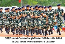 CRPF Head Constable Results 2016