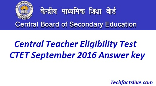CTET Official Answer Key 2016