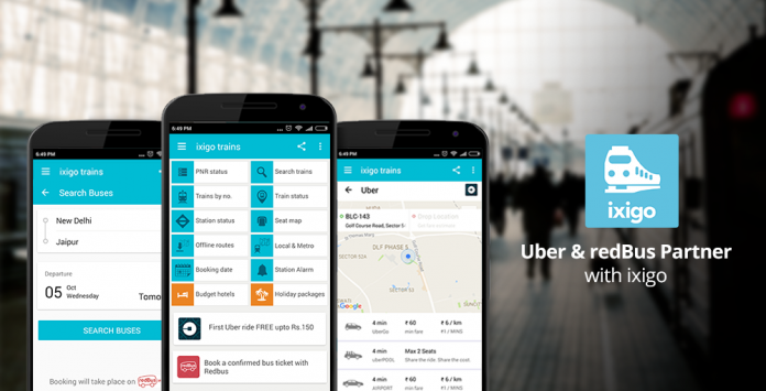 Ixigo Train App Partners Uber and RedBus