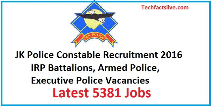 JK Police Recruitment 2016