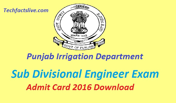 Punjab Irrigation department admit card 2016