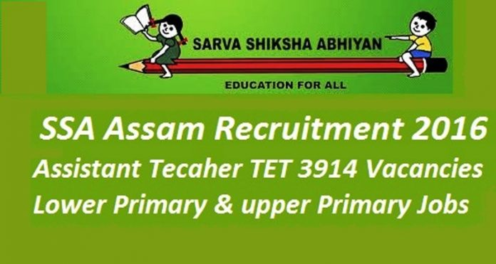 SSA Assam Recruitment 2016