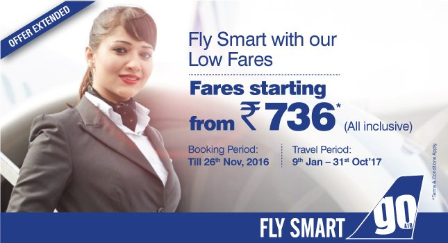 GoAir New Airfare Offer Extended for All-Inclusive Tickets Starting with Rs 736 on All Routes