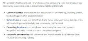 Facebook's Social Good Forum: Introducing Community Help and Donations in Live