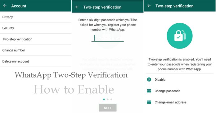 whatsapp to enable two step verification