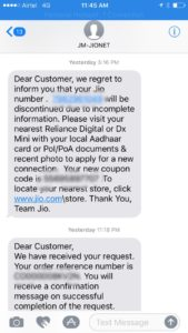RJIO verification text
