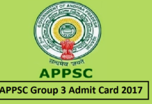 APPSC Group 3 Admit Card 2017