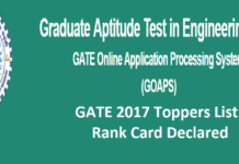 GATE 2017 Toppers List