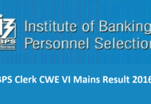 IBPS Clerk CWE VI Mains Result