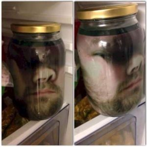 Jar with a Picture in Fridge