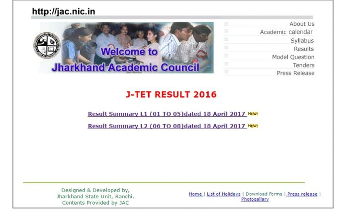 Jharkhand TET Results 2016