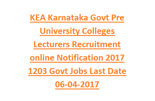 Karnataka PU Lecturer Recruitment 2017