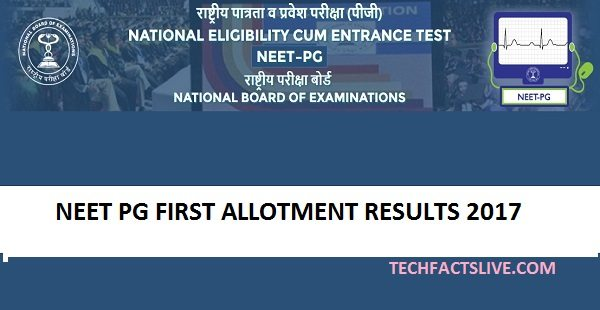 NEET PG Allotment Results 2017