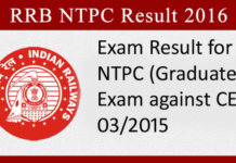 RRB NTPC Stage 2 Result 2017