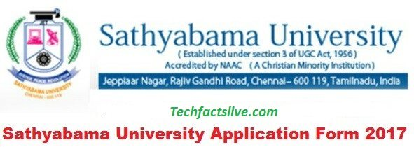 SathyaBama University Entrance Exam Notification