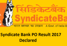 Syndicate Bank PO PGDBF Result 2017