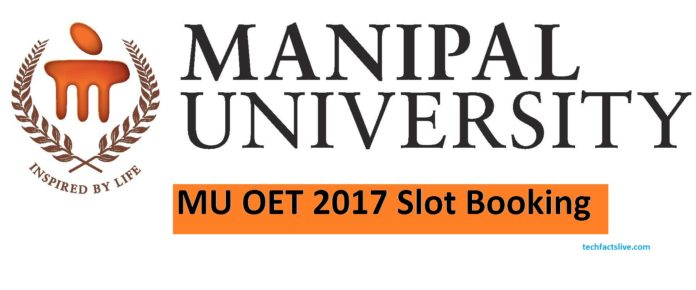 Manipal University Entrance Exam Slot Booking