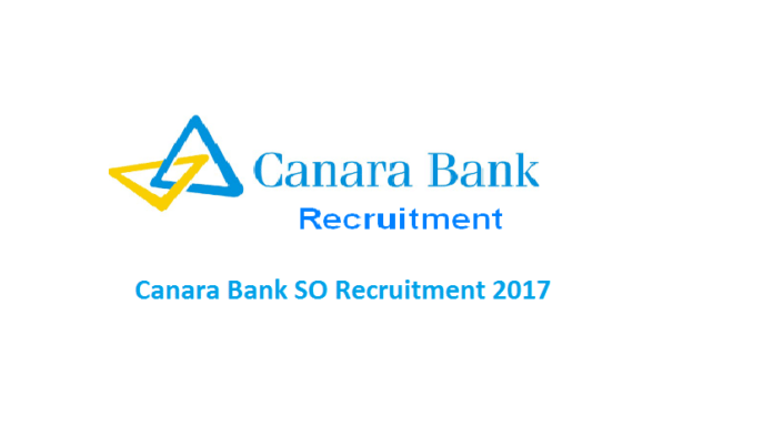 Canara Bank SO Recruitment 2017 Released