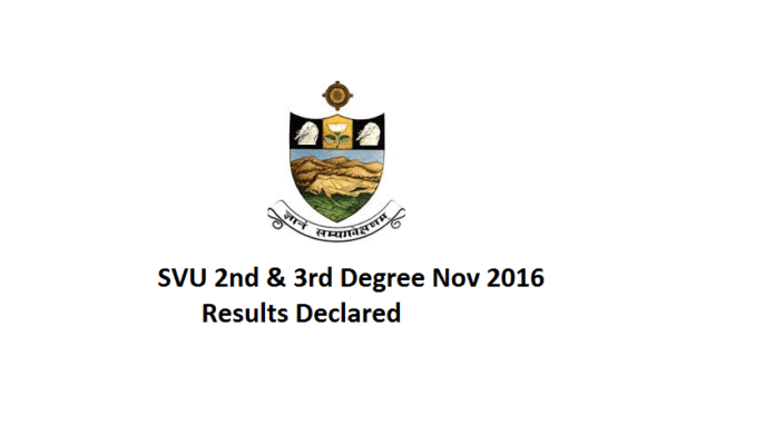 SVU Degree 2nd Year 3rd Sem Results 2016