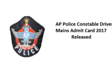 AP Police Constable Driver Mains Admit Card 2017