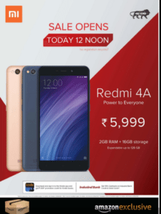 xiaomi redmi 4A flash sale