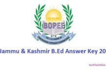 JK B.Ed Entrance Exam Answer Key 2017