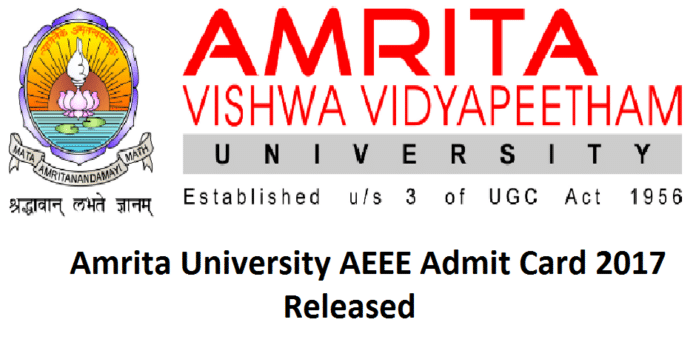Amrita University Entrance Exam Admit Card