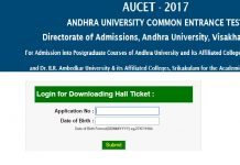 AUCET Hall Ticket 2017