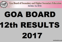 GBSHSE Goa Board 12th Results 2017 GBHSE