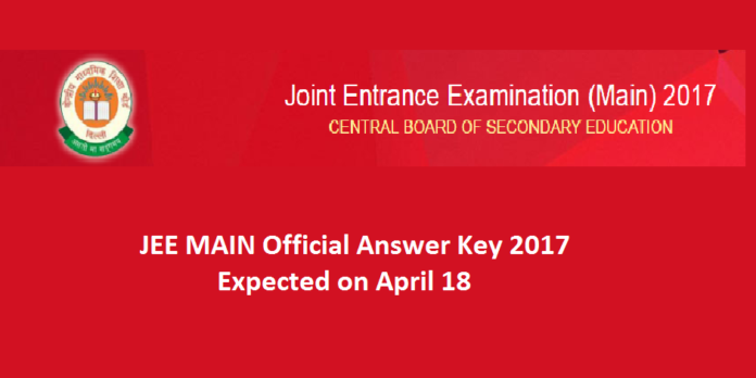 JEE Main Official Answer Key 2017