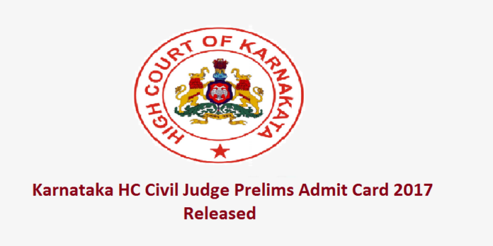 Karnataka High Court CJ Prelims Admit Card