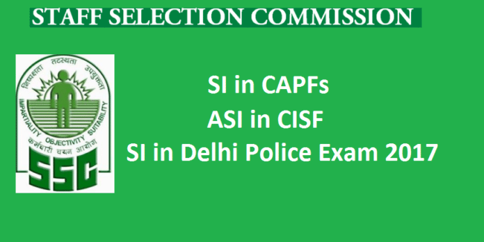 SSC SI CAPF Recruitment 2017