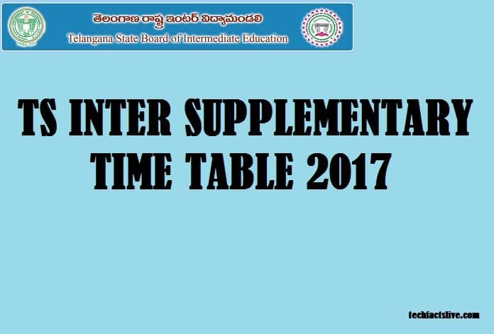 TS Inter Supplementary Time Table 2017