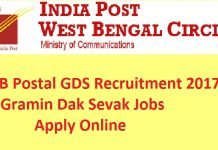 West Bengal Postal Recruitment 2017