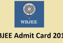 WBJEE admit card 2017