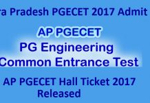 AP PGECET Hall Ticket 2017