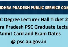 APPSC Degree Lecturer Hall Ticket 2017