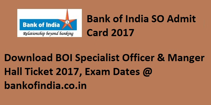 Bank of India Admit Card 2017