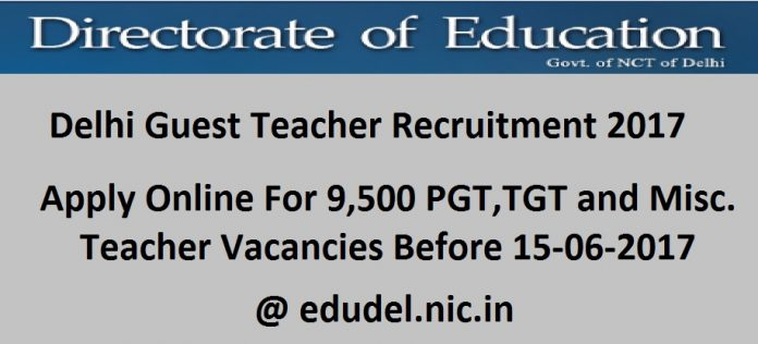 Delhi Guest Teacher Recruitment 2017